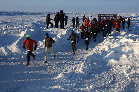 Inicio del NORTH POLE MARATHON 2015