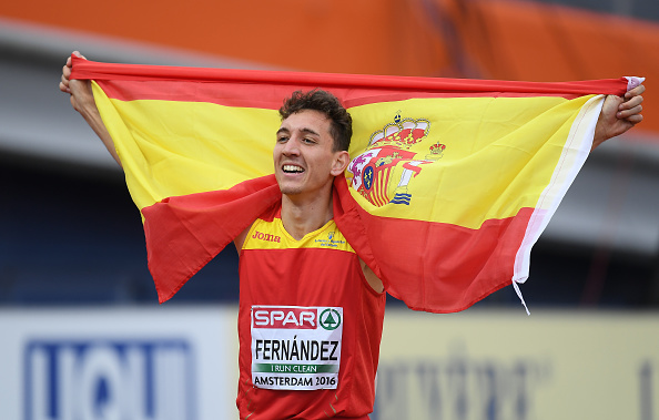 Amsterdam , Netherlands - 8 July 2016; Sergio Fernandez, right, of Spain, who won silver, celebrates after the Men's 400m Hurdles Final on day three of the 23rd European Athletics Championships at the Olympic Stadium in Amsterdam, Netherlands. (Photo By Brendan Moran/Sportsfile via Getty Images)