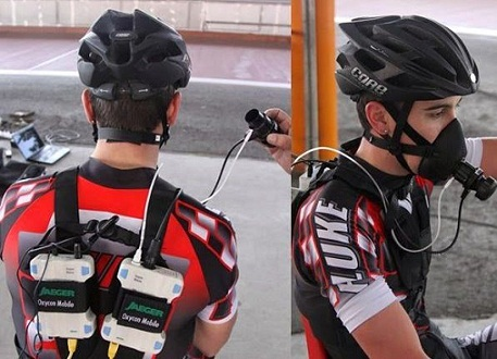 Fig. 3. Test con analizador de gases portátil en patinaje de velocidad (fuente: www.mundopatin.com)