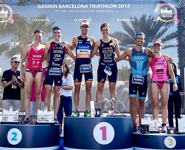 BARCELONA, SPAIN - JUNE 21:  Garmin Barcelona Triathlon  2015 at Playa de la Mar Bella on June 21, 2015 in Barcelona, Spain. (Photo by Manuel Queimadelos)
