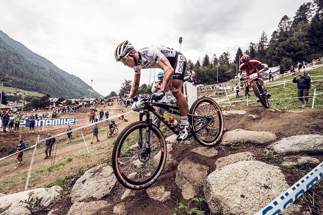 Nino Schurter performs at the UCI World Tour in Val di Sole, Italy on August 23rd, 2015