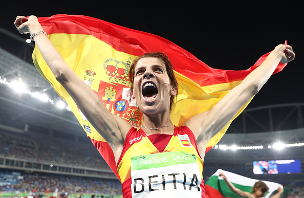 RIO DE JANEIRO, BRAZIL - AUGUST 20:  Ruth Beitia of Spain reacts after winning gold in the Women's High Jump Final on Day 15 of the Rio 2016 Olympic Games at the Olympic Stadium on August 20, 2016 in Rio de Janeiro, Brazil.  (Photo by Ezra Shaw/Getty Images)
